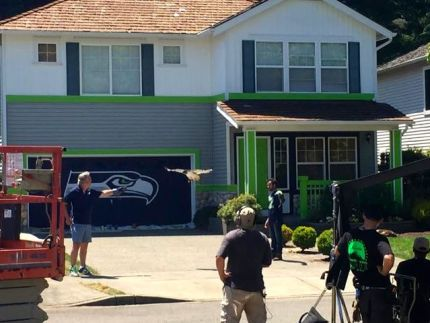 Scene filmed for future lottery commercial featuring Seahawks live mascot.