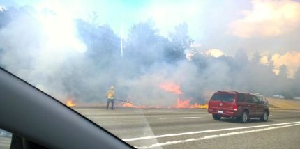 July 12, 2015 brush fire in I-90 median near Snoqualmie.