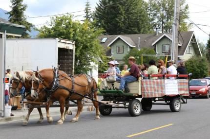 Wagon rides through historic Snoqualmie at the 2014 Railroad Days. Photo: City of Snoqualmie