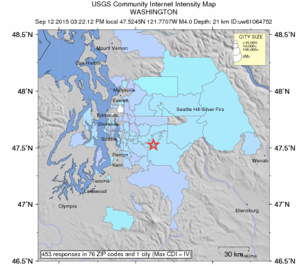 Earthquake report for USGS, centered under Snoqualmie on 9/12/15. Photo: USGS website screnshot