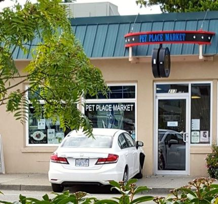 Three car collision sent one car into the front of Pet Place Market in North Bend 9/15/15. Photo: Jennifer Tachell