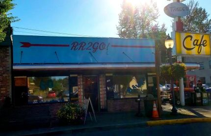 Front view of Twede's Cafe as it's transformed for Twin Peaks revival series filming. 9/9/15. Photo: Glynis Rogers