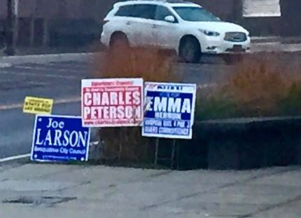 Emma Herron's sign was directly placed in front of Ryan Robert's signs in multiple locations through Snoqualmie in the past 24 hours.