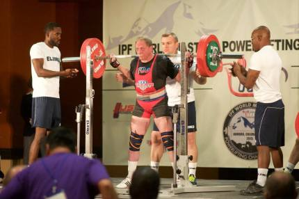 Tepper competing in squat lift at International Master Powerlifting Championships in September 2015.