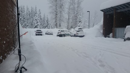 Conditions at Snoqualmie Pass on Monday, 12/21/15. Photo: Alan