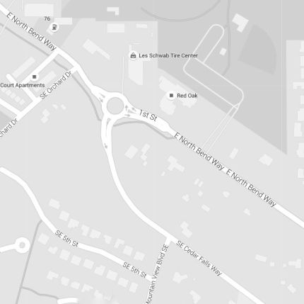 Beginnign the week of Feb. 8, 2016 the City of NOrth Bend will install a sidewalk from the Cedar Falls Roundabout to Mountain View Blvd. Photo: Google maps screenshot