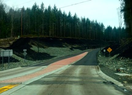 New section of Tokul Road that feeds into the new roundabout near Snoqualmie Falls.