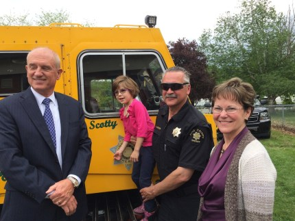 Elena with 'Scotty' the snowcat, with Sheriff Urquhart and King County Councilwoman Kathy Lambert