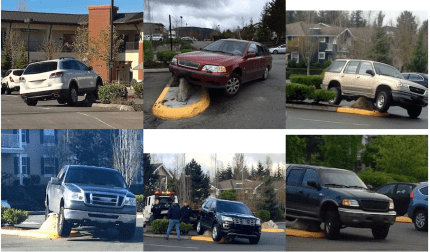 Collage of vehicles high-centered on the parking lot Kinsey Street entrance.