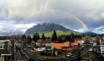rainbow over North Bend