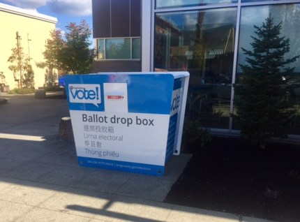 King County Election drop box that showed up outside the Snoqualmie Library the week of September 19th.