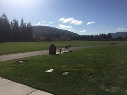 Walking path around fields at Jeanne Hansen Park in Snoqualmie