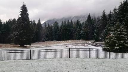 A dusting of snow in North Bend Sunday morning, 12/4/16. Photo by: Natalie Pietzyk