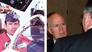 Retired Col. Douglas C. Roach as an Air Force Thunderbird pilot (left) and in conversation at a Spaatz Association dinner about five years ago.(Left photo courtesy of Michael Jacobssen; right photo courtesy of Mike Murphy.)