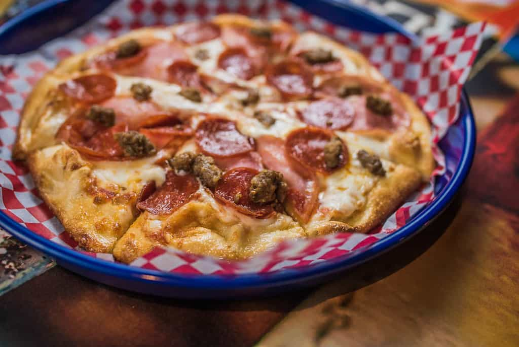 Three-Meat Pizza