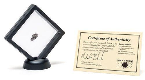 The Campo del Cielo meteorite sample and certificate