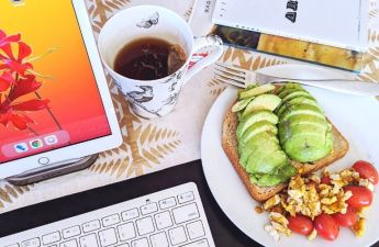 Writing day with tea and avocado toast