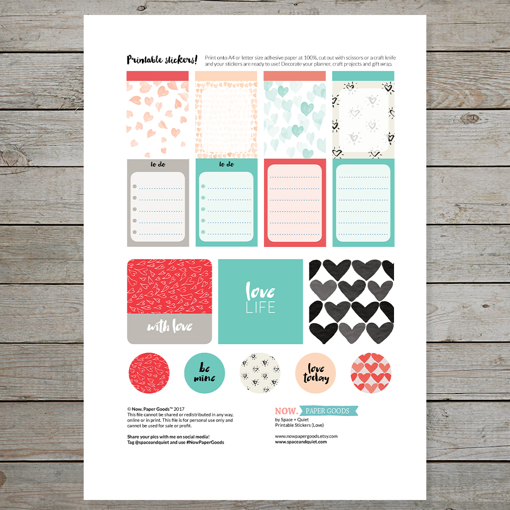 Free Valentines Day Printable Stickers For Planners And