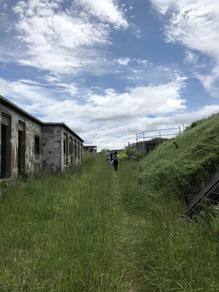 An overgrown grassy path cuts between old military fort buildings.