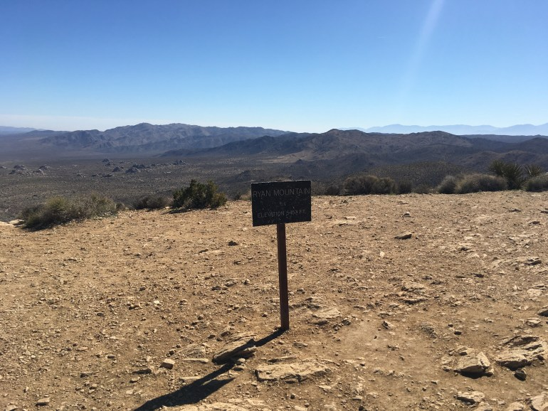 The summit sign for Ryan Mountain