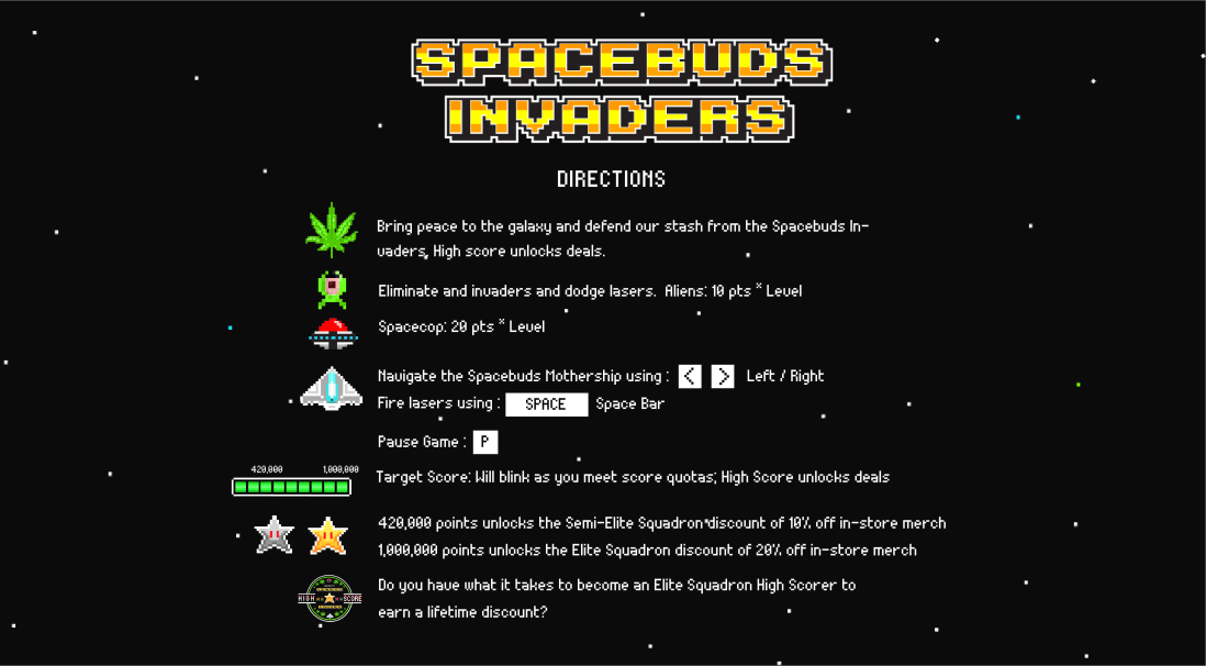 Spacebuds Invaders Directions