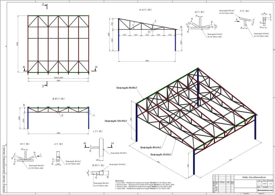 Проектирование и расчет фермы навеса для автомобиля