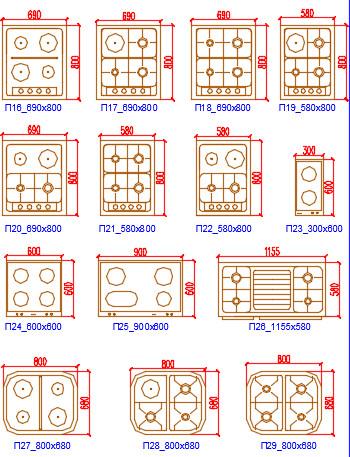Блоки Автокад Кухня плиты