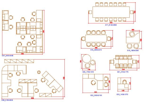 Блоки Автокад Мебель офисных помещений