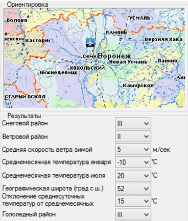 Основные климатические показатели района строительства Воронеж