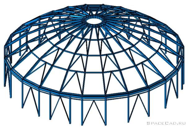 Расчет металлического ребристого купола в Лира САПР 2