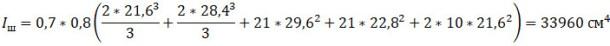 Момент инерции сварных швов равен: