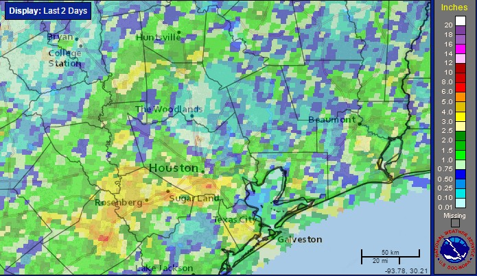 Accumulated rainfall for Houston from 5am Monday through 5am Wednesday. (NOAA)