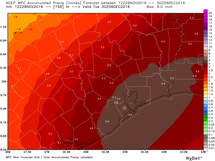 Here is the rain accumulation forecast for now through Monday from NOAA. (Weather Bell)