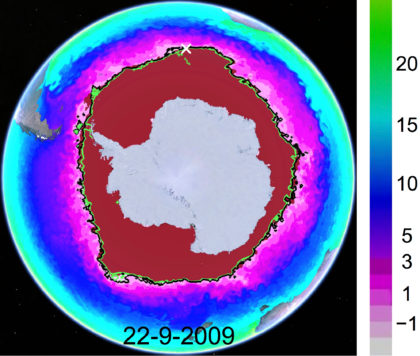 Map of sea surface temperatures (in degrees Celsius) combined with sea surface temperature contour lines for -1 degree Celsius (black) and -1.4 degrees Celsius (green), plotted atop a National Ice Center map of the extent of Antarctic sea ice on Sept. 22, 2009.