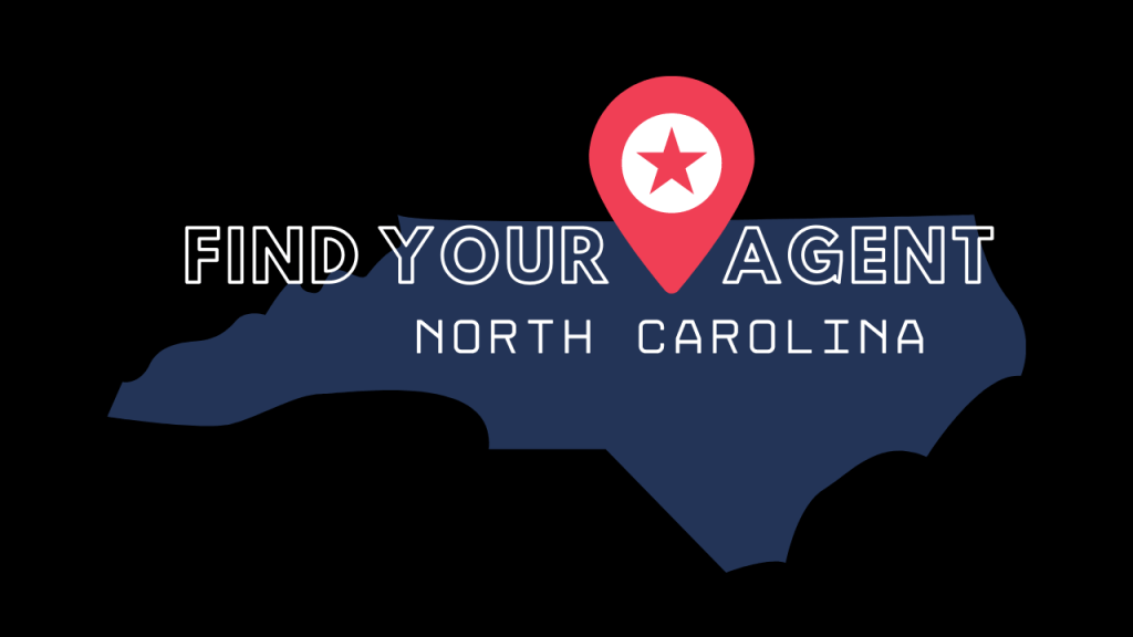 blue image of the state of North Carolina with red location marker and the words find your agent north carolina