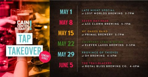 Cain Center for the Arts Tap Takeover May 2021 event list