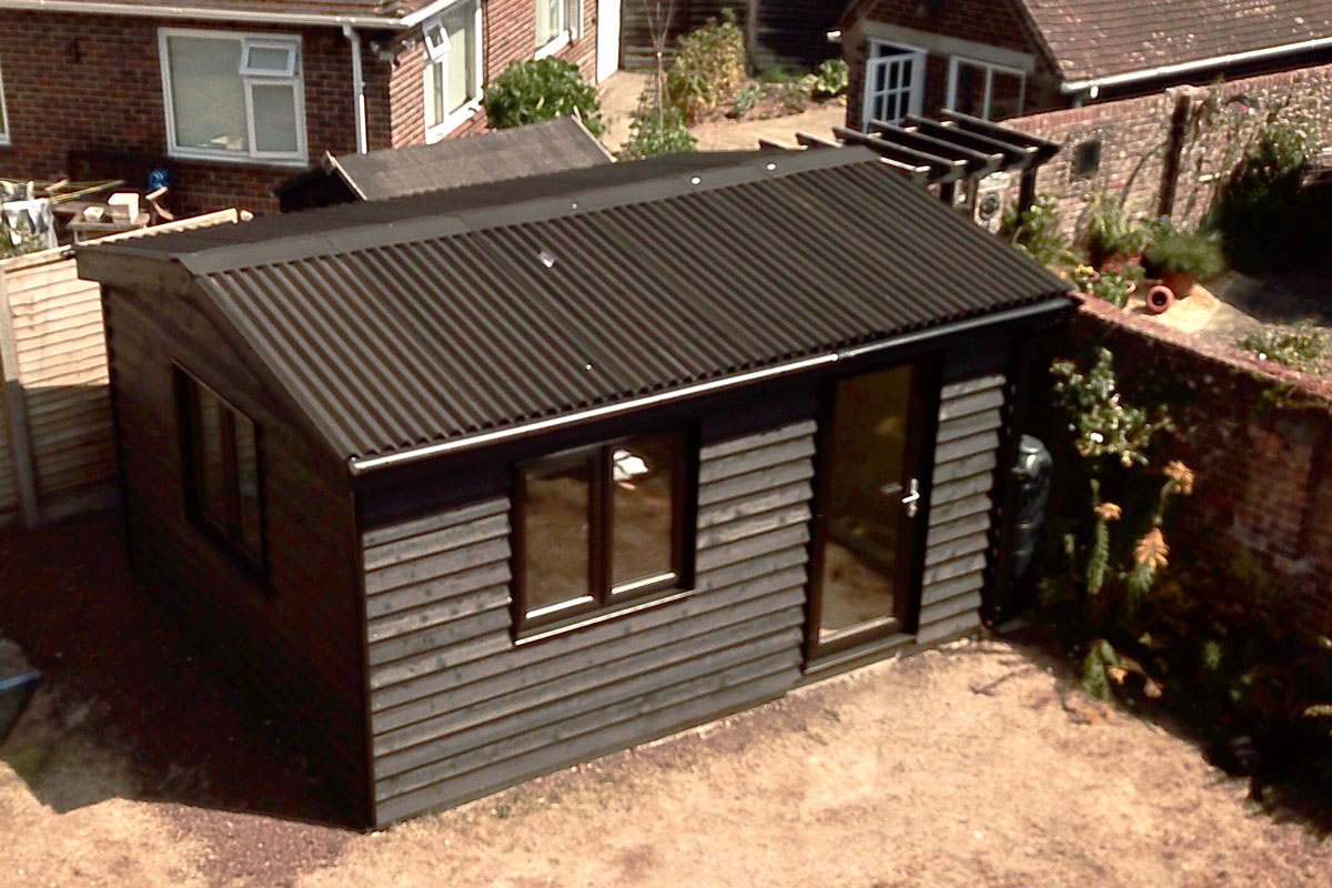 Fishbourne Chichester-Black-Cladded-Garden Room aerial photo 1