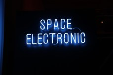 The Space Electronic neon sign, a faithful recreation of the neon outside the club, made by Neon Specialists, London.