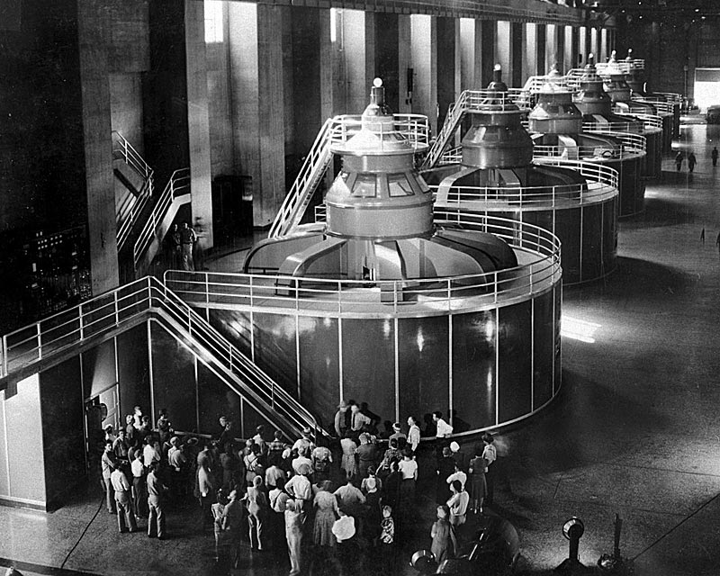 One of the Hoover Dam's two powerhouses. (Credit: U.S. Government.)