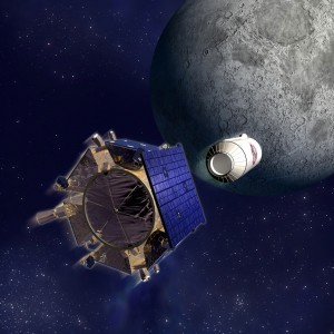 An artist's concept of LCROSS approaching the Moon. Credit:NASA