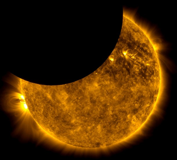 A partial eclipse of the sun. Credit: NASA