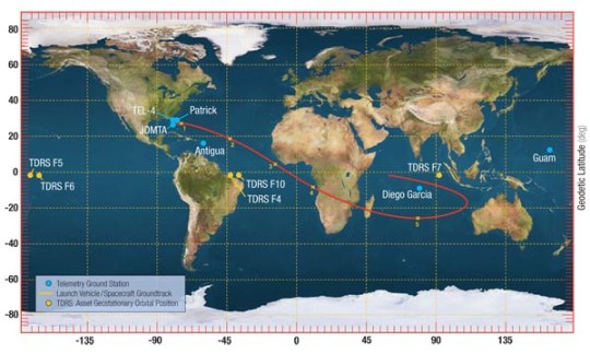 Spaceflight Now   Atlas Launch Report   Atlas launch ground track Map