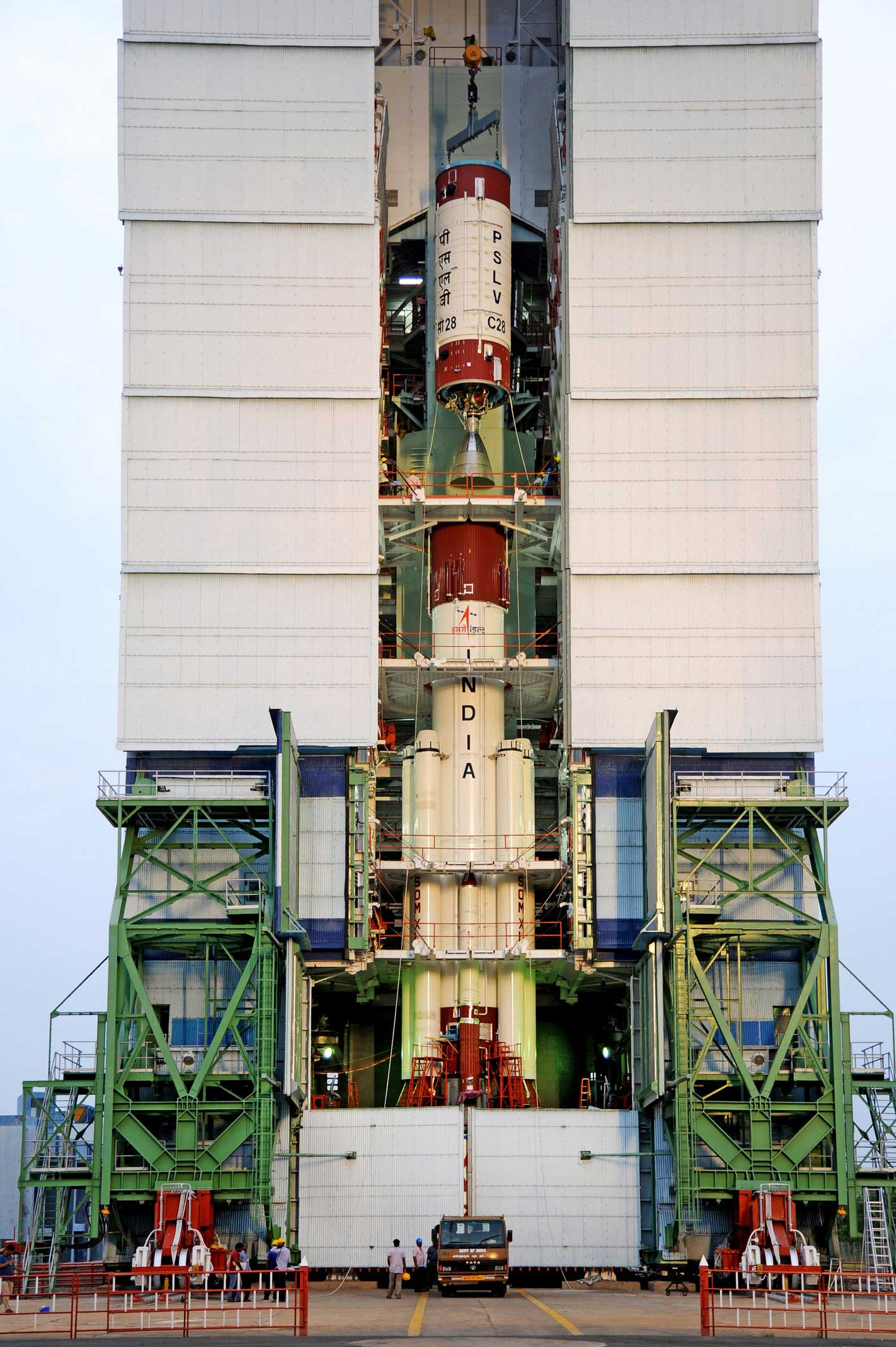 The PSLV's second stage is hoisted onto the rocket during stacking operations at the Satish Dhawan Space Center on India's east coast. Credit: ISRO
