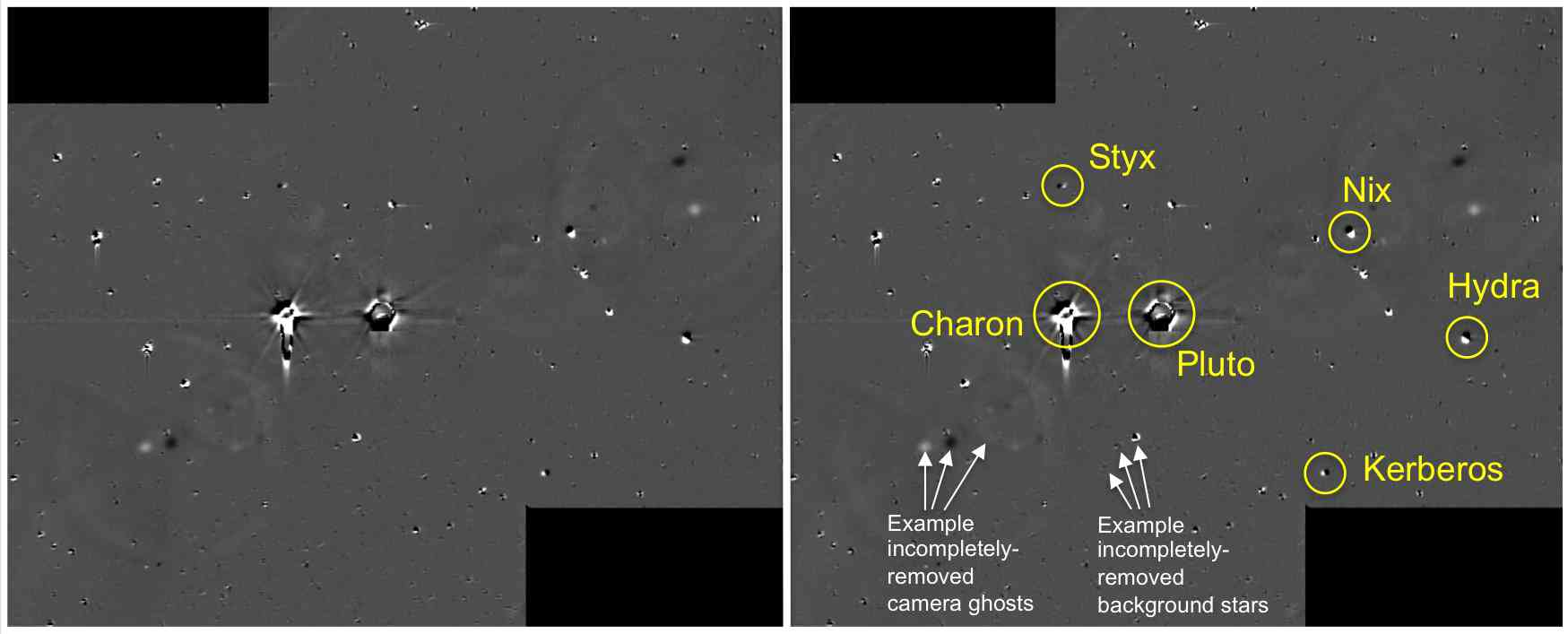 This illustration shows some of the final images used to determine that the coast is clear for New Horizons' flight through the Pluto system. NASA/Johns Hopkins University Applied Physics Laboratory/Southwest Research Institute
