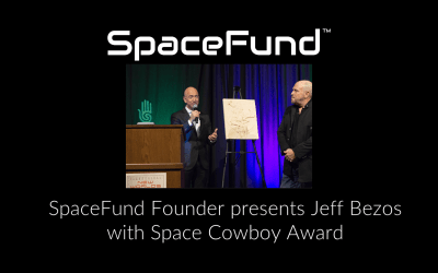 SpaceFund Founder presents Jeff Bezos with Space Cowboy Award