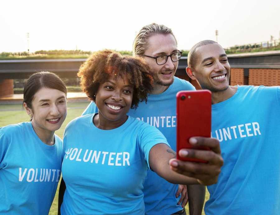 Volunteers taking a selfie