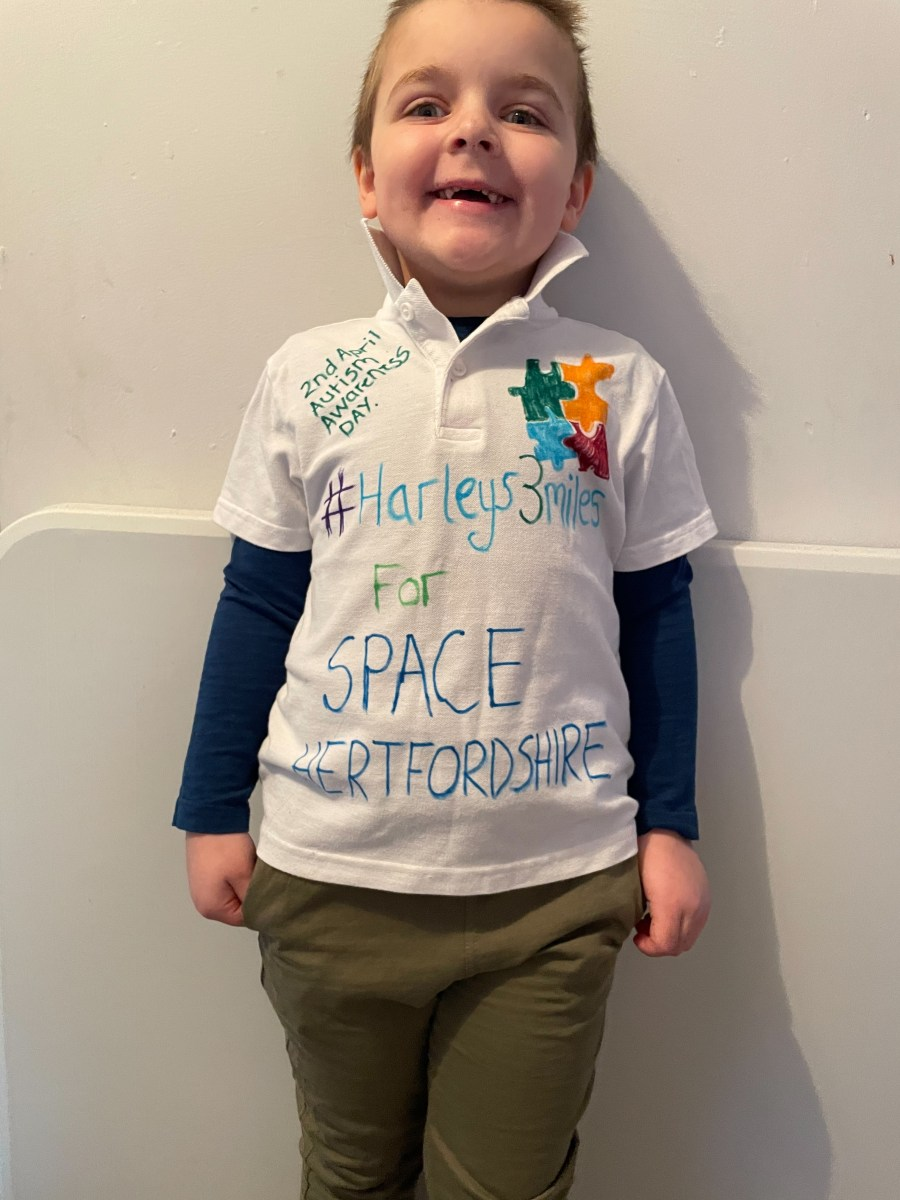 Harley's T-shirt says 3 miles for SPACE