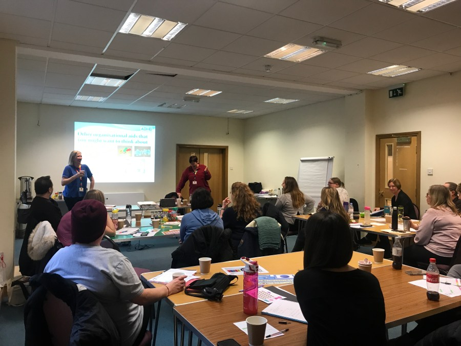 Delegates listening to a presentation from SPACE at an autism and ADHD training day
