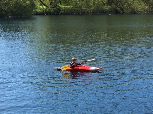 Young boy in kayak