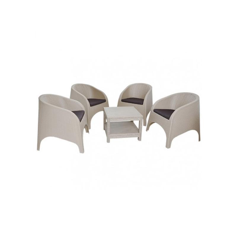 salon de jardin pacha grege 4 chaises et coussins table byrsa